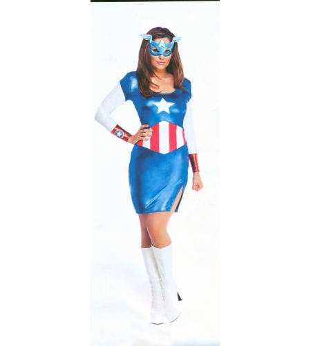 DISFRAZ CAPITAN AMERICA GIRL ADULTO
