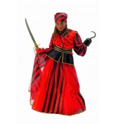 Piraterin Kostüm mit roten Streifen für Kinder