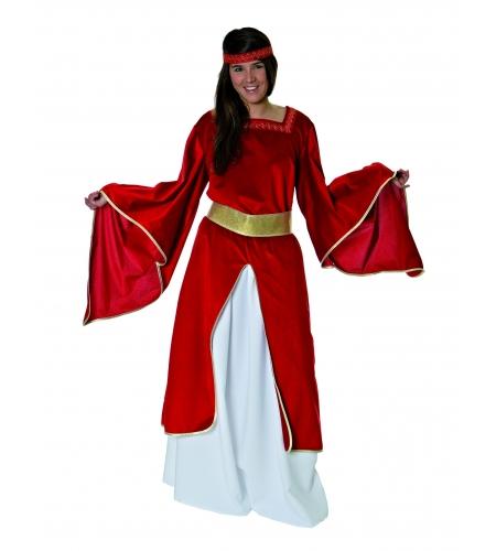 Maid medieval burgundy adult costume